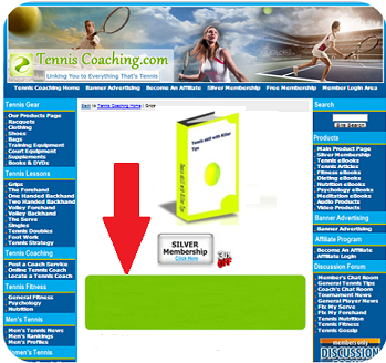 Tennis Shopping Cart Product Departments, Main Pages - Horizontal (Top)